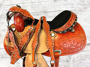 TOOLED LEATHER SHOW TRAIL HORSE BARREL RACING WESTERN BROWN SADDLE 15 16 SET