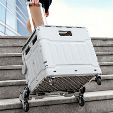 New Listingcollapsible Storage Utility Cart Folding Portable Trolley With8 Wheelamphanging Lid