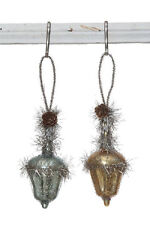 MERCURY Glass Acorn Ornaments with Tinsel Set of 2 Vintage Christmas Decor NEW