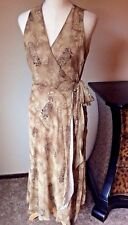 Ralph Lauren Size 8 Light Brown Silk Sleeveless Wrap Dress New