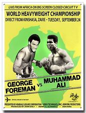 RUMBLE IN THE JUNGLE METAL SIGN, BOXING, GEORGE FOREMAN,MUHAMMAD ALI,HEAVYWEIGHT
