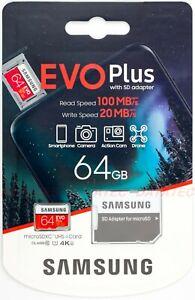 SAMSUNG EVO Plus micro SD 64GB SDXC Memory Card Dash Action U1 GoPro Phone 100Ms