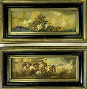 quadri antichi dipinti coppie a olio su tavola battaglia con cornice anni 60 70