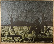 """Fine Vintage Linocut, """"A Challenge to Though"""" South American Listed Art! Farmer!"""