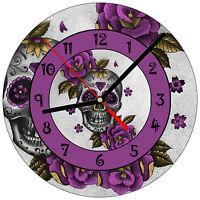 """8"""" WALL CLOCK Sugar Skull #16 Dia de los Muertos Day of the Dead Halloween"""