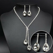 Wedding Luxury Water Drop Crystal Rhinestone Necklace Earrings Jewelry Set SPUK