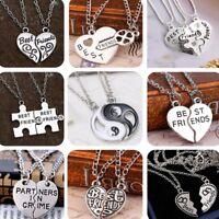 Birthday Gift 2/3P Broken Heart BFF Best Friends Yin Yang Pendant Necklace Chain