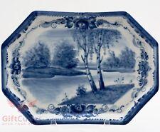 Gzhel wall decor porcelain plate tray hand-painted souvenir birch nature river