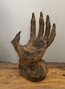 Halloween Decoration Prop WITCH HAND Statue Rustic Cast Sculpture