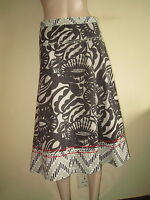 """Fat Face ~ Brown & Stone Abstract Print Flared Cotton Skirt ~ Size 12 Length 29"""""""