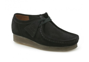 Ladies Womens Clarks Wallabee 2 Black Suede Leather Lace Up Classic Work Shoes