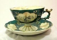 Vintage Lefton China Hand Painted Footed Pedestal Teacup & Saucer Blue Green