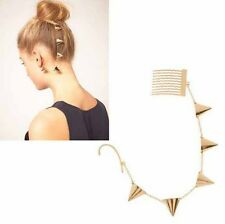Gold Tone Spike Rivet Link Chain Fringe Tassel Hair Comb Ear Cuff Clip Earring