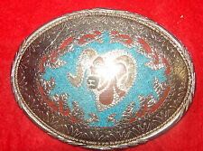 Crushed Turquoise Big Horn Ram Silver Tone Belt Buckle