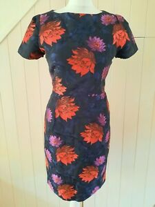 L.K. BENNETT DR BASSEY black, blue, purple red FLORAL JACQUARD dress 10 38 NEW