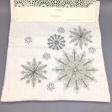Cynthia Rowley Snowflake Winter Table Runner Holiday Silver Sequins Christmas