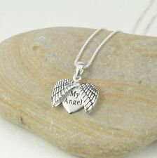 925 Sterling Silver My Angel Wings Guardian Heart Pendant Necklace in Gift Box