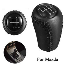 6 Speed Leather Gear Knob Stick Shift Black For Mazda 3 5 6 CX-7 MX-5 2005-2014