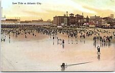 Postcard Low Tide at Atlantic City NJ New Jersey Beach Crowds of People PC