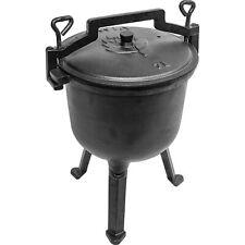 Hunting Cooking Stew Pot Cast Iron Cauldron Fireplace Stock Pot OpenFire BBQ 7L