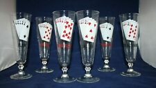 5 Vintage Poker Hands Playing Card Pilsner Cocktail Glasses Man Cave-Mid Century