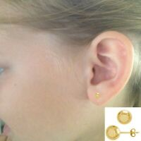 10K Real Gold Small Ball Stud Earrings 3mm