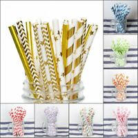 50Pcs Paper Drink Gold Striped Straws Baby Shower Wedding Birthday Party Supplie