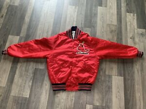VTG 90s  Men Satin Bomber Jacket St Louis Cardinals Red Quilted MLB DeLong USA