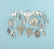 Native American Charm Collection Deluxe Antique Silver Tone 16 Charms - COL129