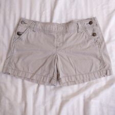 Mossimo Supply Co Womens Cotton Shorts Stripe Mid Rise Pockets Hip Buttons Sz 11