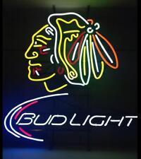 """New Bud Light Chicago Blackhawks Lamp Neon Light Sign 20""""x16"""""""