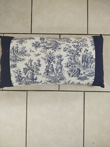 Blue White French Toile Lumbar Accent Decorative Pillow 10x20