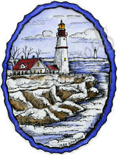 Rubber Stamp Lighthouse In Deckled Oval Frame Northwoods M9637