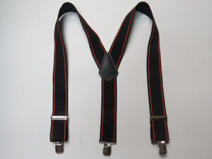 """Y Style 1 1/2"""" & 2"""" BLACK w/ ORANGE Stripes. Suspenders Snaps, Clips Made in USA"""