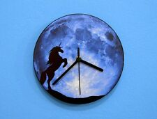 Unicorn Silhouette On Moon  - Wall Clock
