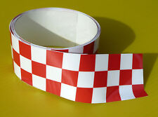 CAFE RACER CHEQUERED TAPE Stripe RED/WHITE sticker 1220x30mm 2 LENGTHS!