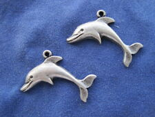 2 - Dolphin Porpoise Ocean Mammal Charms Earrings Silver Fish Water Marine