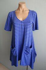 Vigorella V Neck Blue & White Striped Short Sleeve Pockets Tunic Top One Size