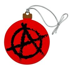 Anarchy Symbol Red Wood Christmas Tree Holiday Ornament