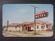 Niles Michigan MI Bowman's Motel Barber Pole Neon Sign Vintage Postcard 1950s