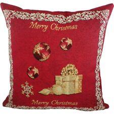 Kissen Merry Christmas Weihnachten Rot Gobelin ca 45 x 45 cm Landhaus Zierkissen