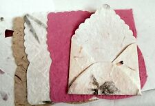 10 x HANDMADE MULBERRY GIFT TAGS & ENVELOPES  ** Pinks EC03*Embedded Petal