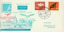 Sonderdienst Hamburg-Frankfurt-Budapest 27.4.1965 LH 154+M 344 wertvolle Stempel
