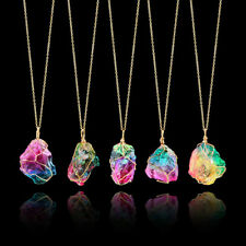 Fashion Rainbow Stone Necklace Natural Crystal Chakra Rock Quartz Pendant