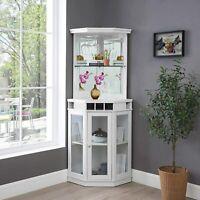 Mini Bar Corner Liquor Cabinet Wine Storage Stemware Rack Dining Furniture White