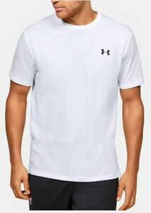 NEW UNDER ARMOUR White Black Cotton/Poly Loose Fit Short Sleeve Shirt MEDIUM M