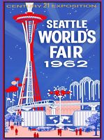 1962 Seattle Washington World's Fair United States Travel Advertisement Poster 3