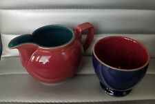 Denby Langley Harlequin Creamer & Open Sugar Bowl Discontinued; Red/Blue/Green