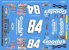 #84 David Gilliland Goody's 2005 Chevy 1/64th HO Scale Slot Car Decals