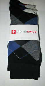 ALPINE SWISS MEN'S ARGYLE DRESS SOCKS Black/Blue One Size MSRP $30 NWT NIP #1408